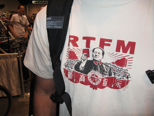 RTFM t-shirt with Mao holding little red book.